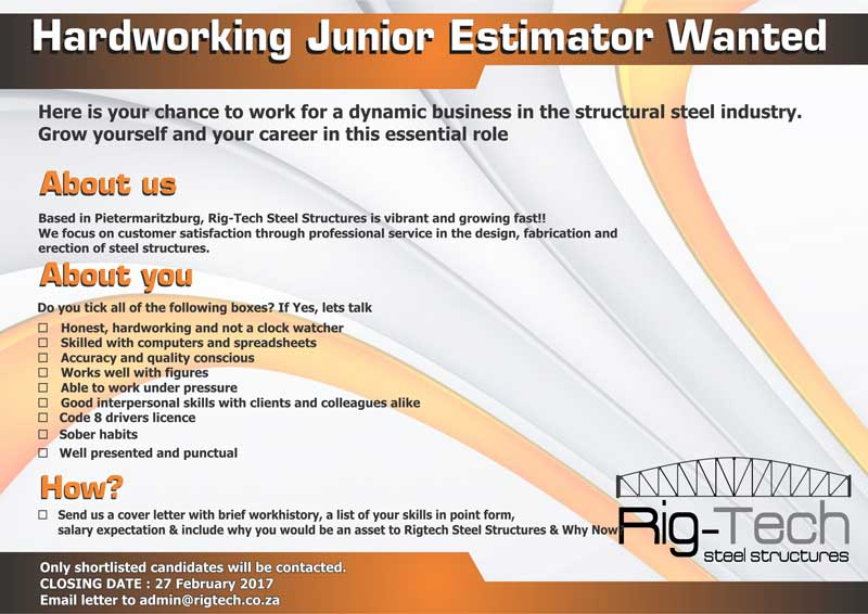 advert-for-junior-estimator-february-2017 | Rig-Tech Steel Structures